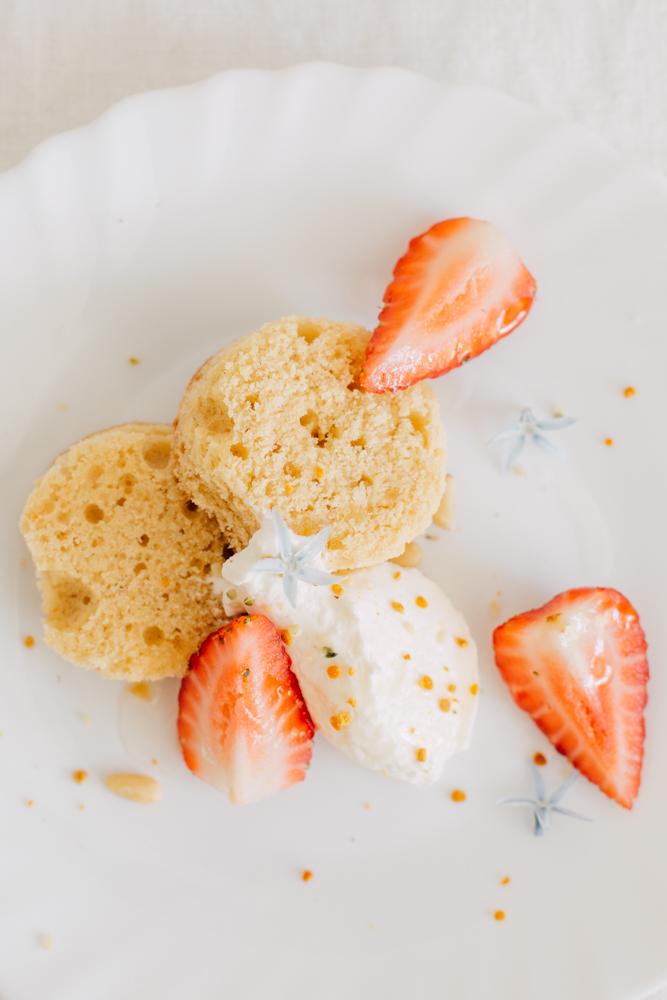 Dessert à l'assiette mllecoton cake fleur d'oranger et chanvre