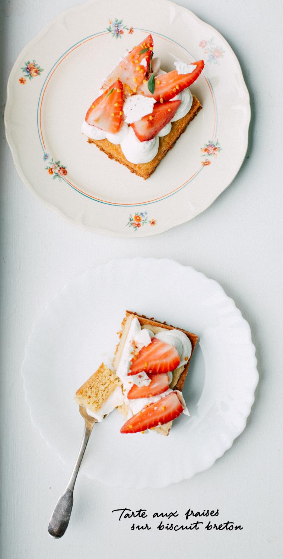 Tarte aux fraises sur biscuit breton, crémeux chocolat passion, chantilly fleur d'oranger et meringue aux feuilles comestibles séchées, feuilles comestibles